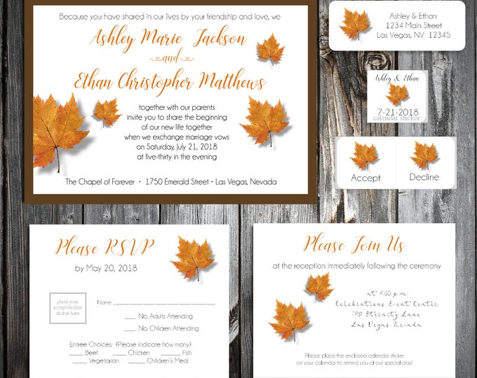 1800 Pieces Fall Leaf Ultimate Set Wedding Invitations, RSVP's, Reception Insert w/ FREE Calendar Stickers - Fall In Love