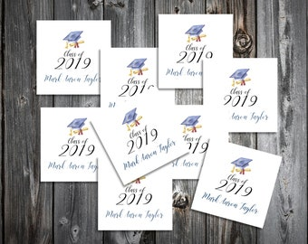 50 Graduation Favor Stickers. 2 inches by 2 inches.  Price includes personalization and printing.