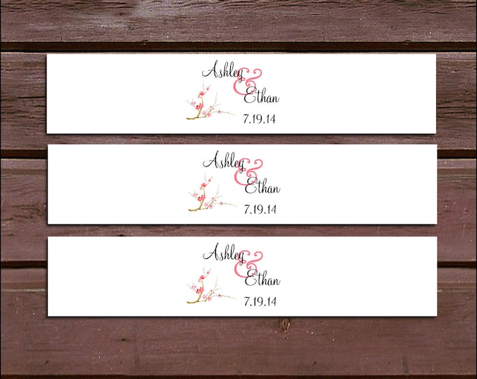 100 Cherry Blossoms Wedding Invitation Belly Bands Wraps.  Includes personalization and  printing