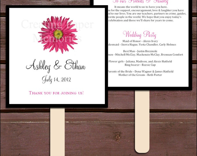 Pink Daisy Program Fans Kit - Printing Included. Wedding ceremony programs