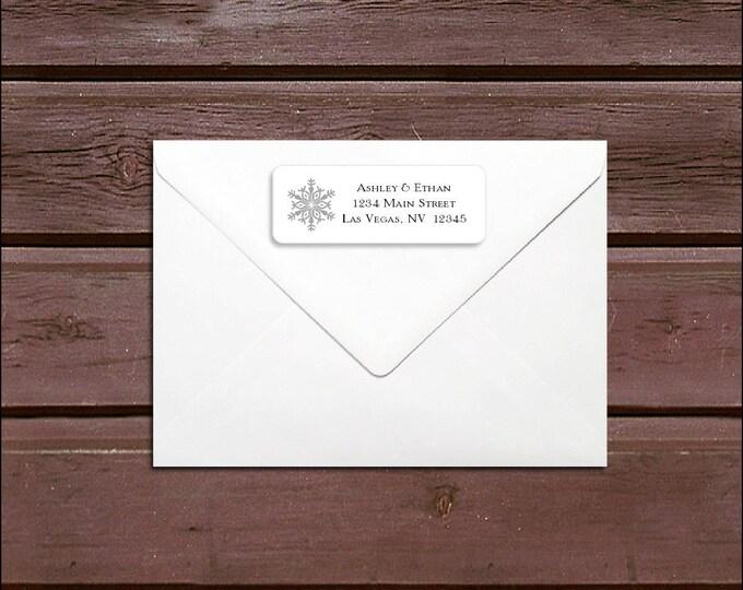 150 Snowflake Wedding Address Labels. Personalized self stick label