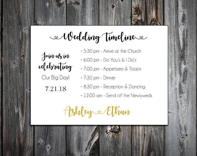 100 Black and Gold Timeline to include with your Wedding Invitations. Includes printing