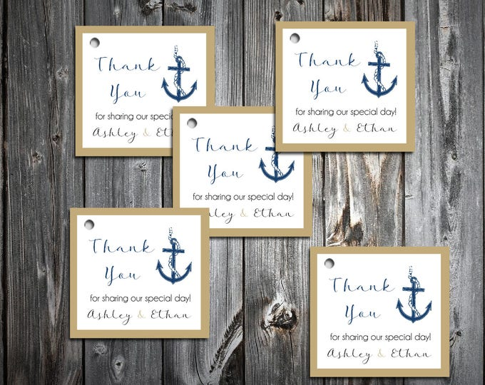 100 Nautical Beach Anchor Favor Tags.  Wedding favors