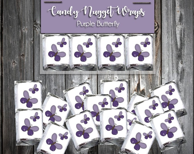 60 Purple Butterfly Shower Chocolate Candy Wraps Favors. Includes printing.
