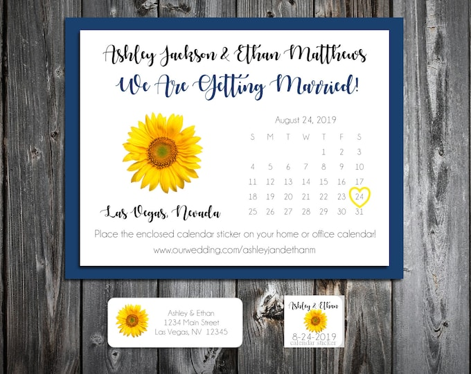 50 Wedding Save the Date Cards - Sunflower - Printed - Personalized Save the Dates Invitations