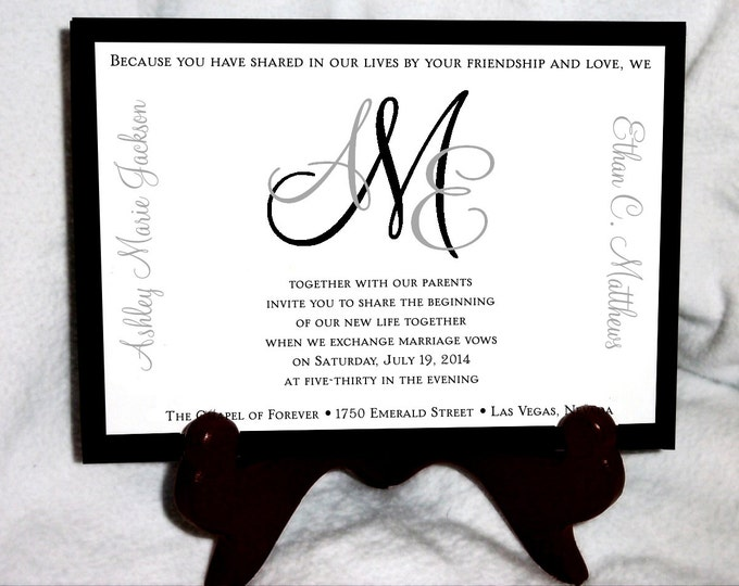 1800 Pieces Monogram Ultimate Set Wedding Invitations, RSVP's, Reception Insert w/ FREE Calendar - monogrammed  Stickers