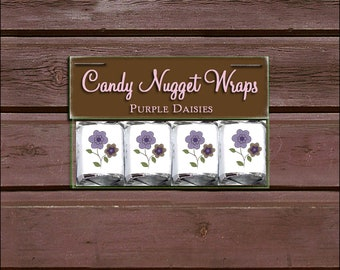 60 PURPLE & BROWN DAISIES Baby Shower Candy Wraps Favors. Includes printing.