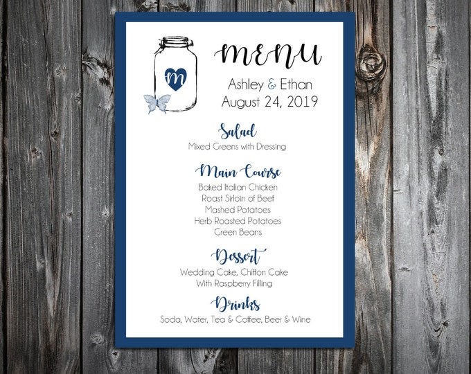 100 Wedding Menu Cards - Mason Jar with Butterfly - Printed - Personalized - Dinner Menus