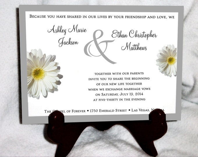 1800 Pieces White Daisy Ultimate Set Wedding Invitations, RSVP's, Reception Insert w/ FREE Calendar Stickers