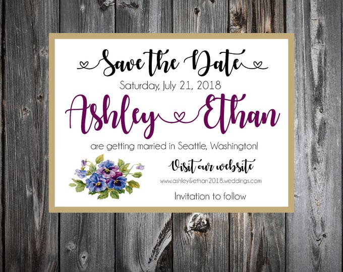 Pansies Flowers Wedding Save the Date Cards Invitations