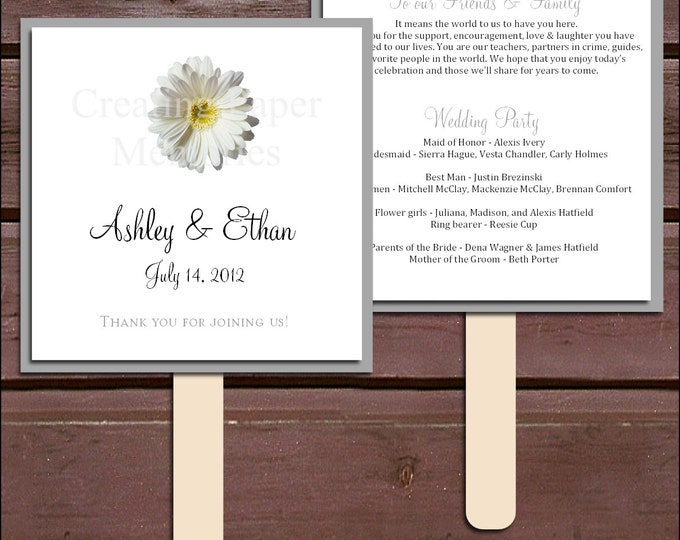 White Daisy Program Fans Kit - Printing Included. Wedding ceremony programs