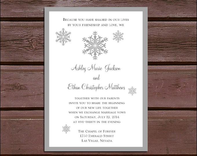 100 Snowflake Wedding Invitations, RSVP's, Reception Inserts w/ FREE Calendar Stickers, personalization, printing