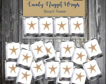 100 Beach Starfish Candy Wraps - Wedding Favors