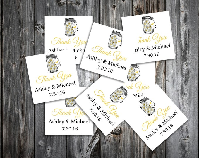 Mason Jar with Daisies 100 Wedding Favor Stickers. Personalized and printed square labels.