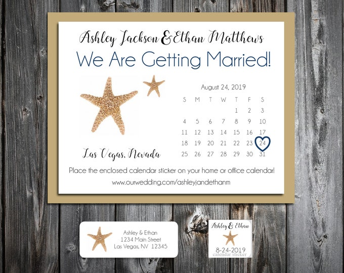 50 Wedding Save the Date Cards - Beach Starfish - Printed - Personalized Save the Dates Invitations