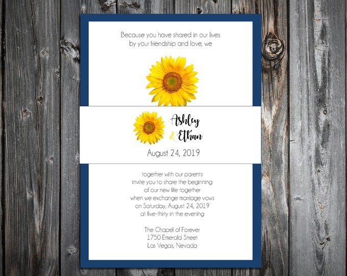 100 Wedding Invitations Belly Bands - Sunflower - Printed - Personalized