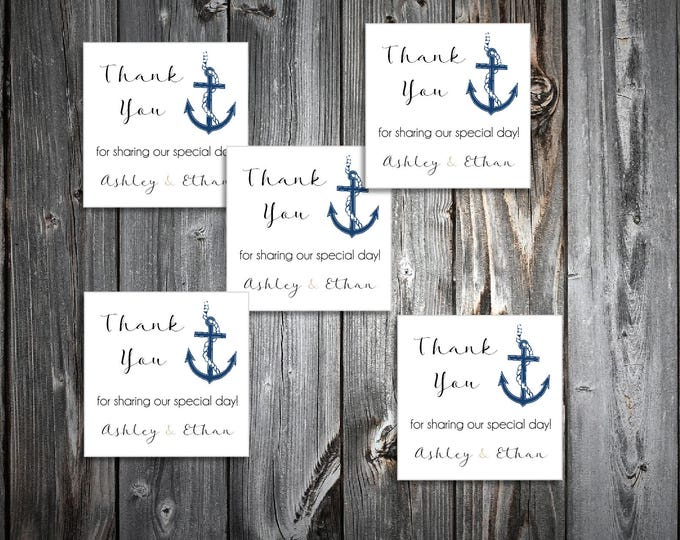 60 Nautical Beach Anchor Wedding Favor Stickers. Personalized printed square labels are 2 inches by 2 inches.