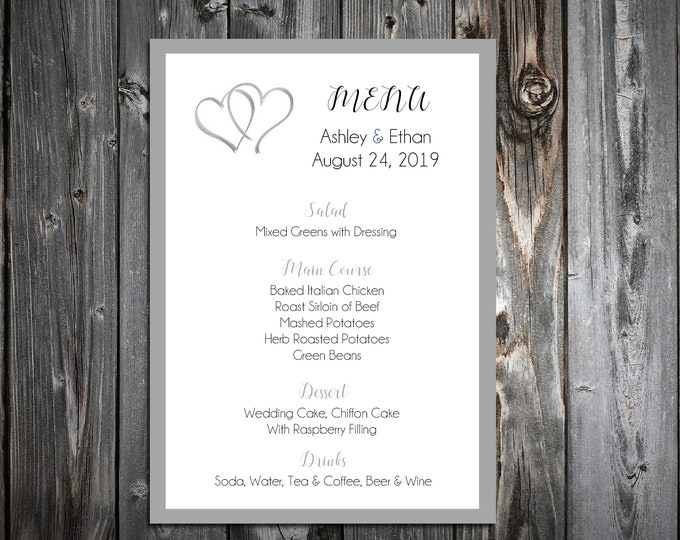 100 Wedding Menu Cards - Double Hearts - Printed - Personalized - Dinner Menus