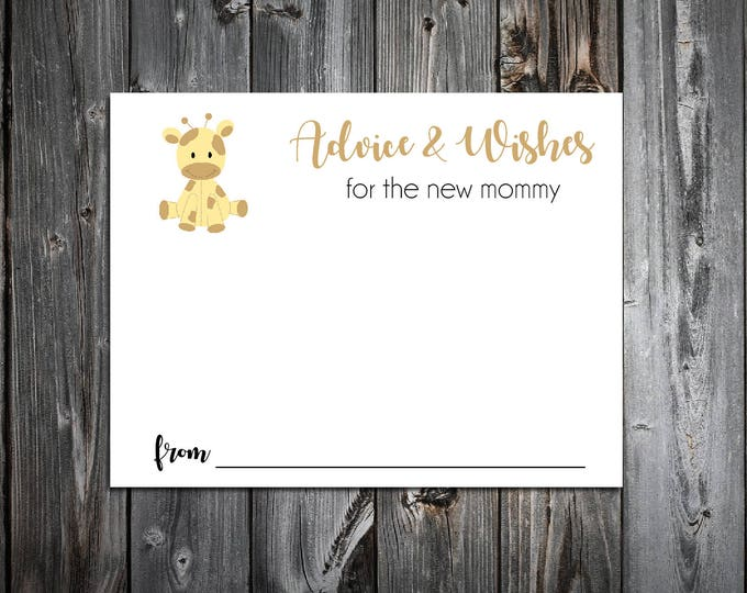 25 GIRAFFE Baby Shower Advice and Wishes.  Includes printing.