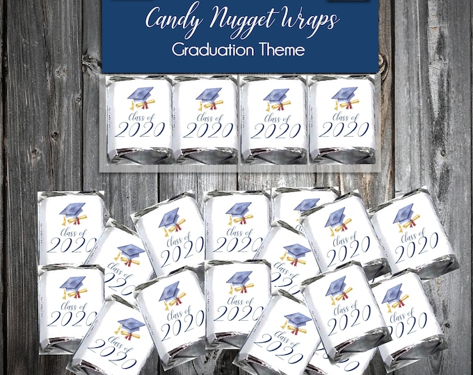 100 Graduation Candy Wraps Favors - Nugget Chocolate Wrappers - Class of 2020