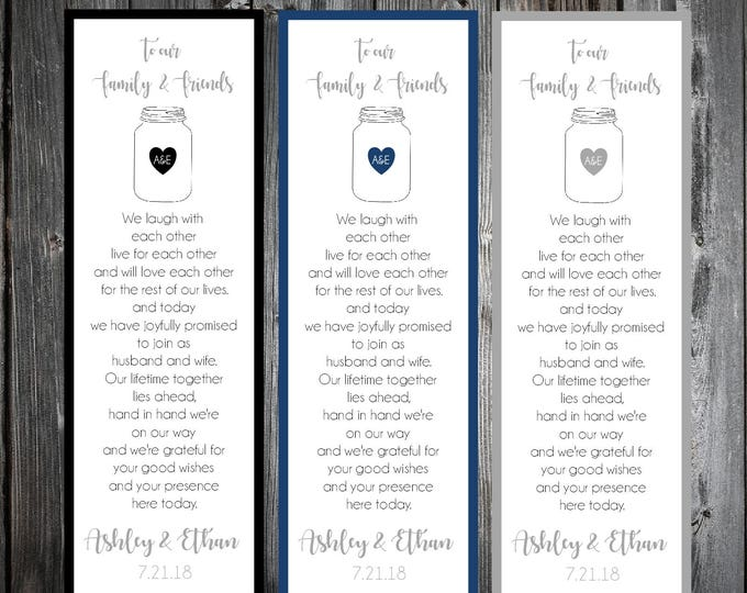 100 Mason Jar Wedding Bookmarks Favor