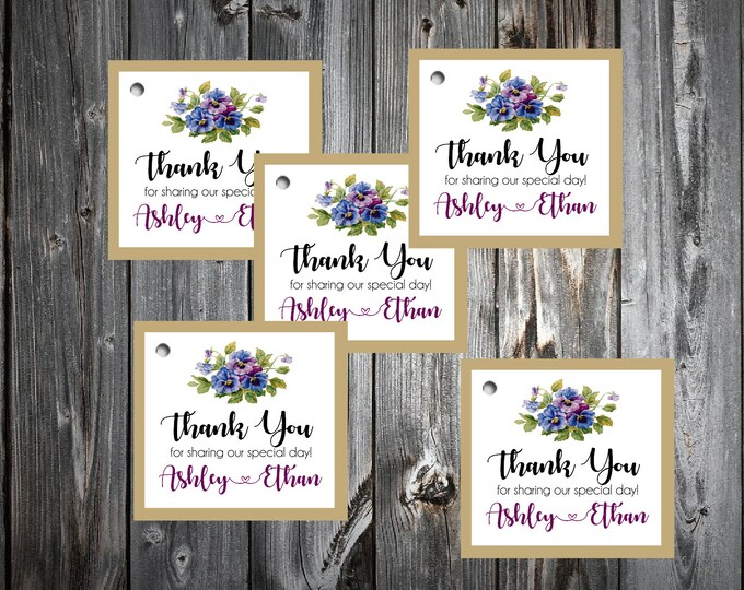 Pansies Flowers 100 Printed and Personalized Favor Tags. Beach Wedding favors
