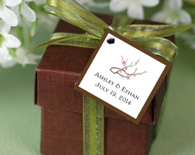 100 Cherry Blossoms Pink Favor Tags.  Wedding favors