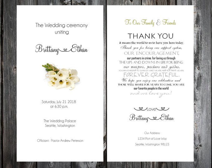 100 Wedding Programs - Calla Lily - Printed - Personalized Calla Lilies