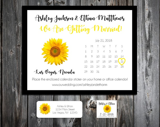 Sunflower Wedding Save the Date Cards Invitations