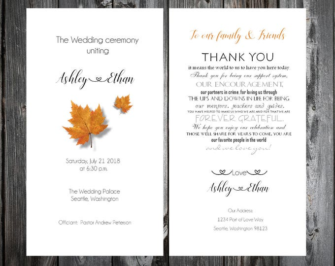 100 Fall Leaf Wedding Ceremony Programs  - Fall In Love