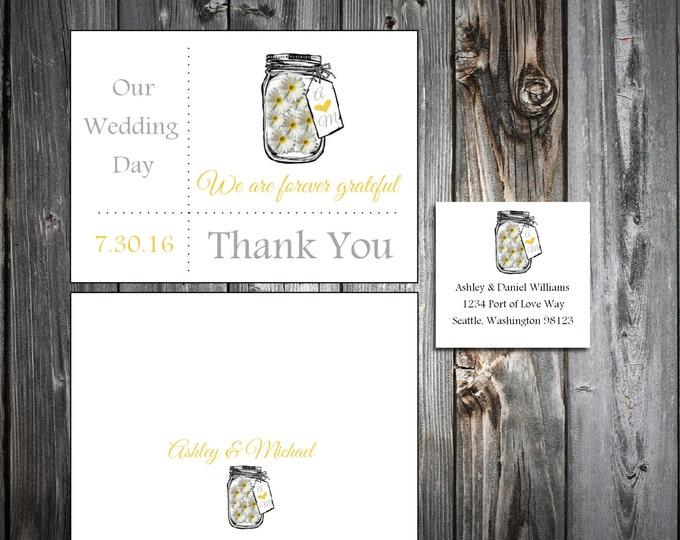 Mason Jar with Daisies 100 Wedding Thank You Notes