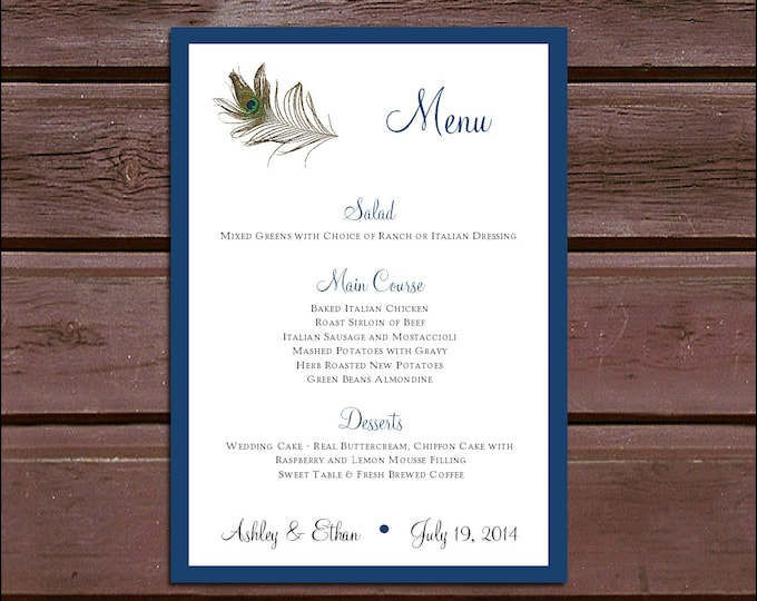 100 Peacock Feathers Wedding Menu Cards - Dinner Menus