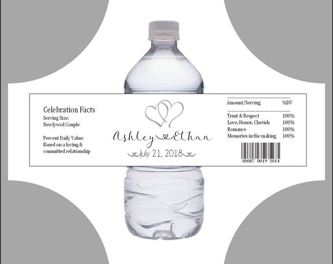 50 Hearts water bottle labels - Wedding favors