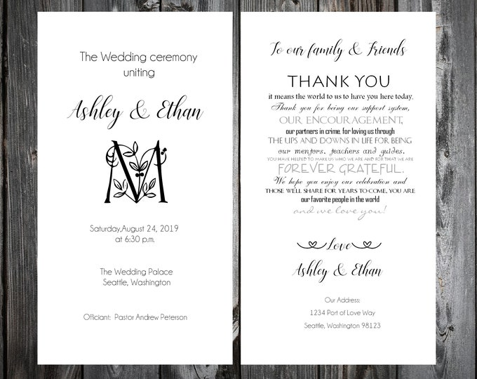 100 Wedding Programs - Monogram Floral Letter - Printed - Personalized