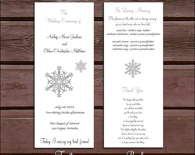 100 Snowflake Wedding Ceremony Programs