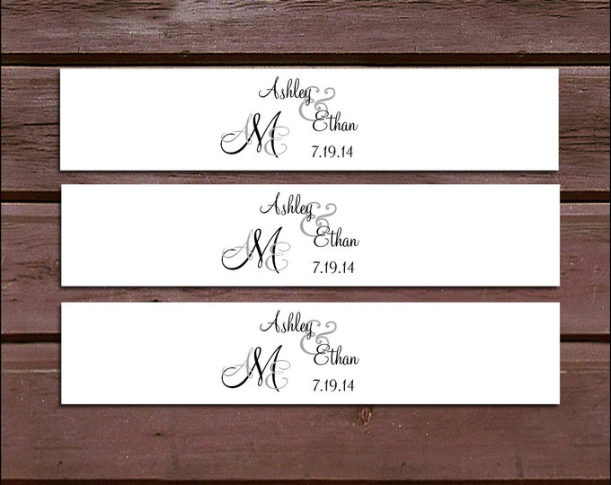 100 Monogram Wedding Invitation Belly Bands Wraps.  Includes personalization and  printing - monogrammed