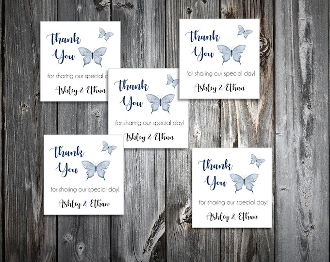 100 Butterfly Wedding Favor Stickers. Personalized printed square labels are 2 inches by 2 inches.