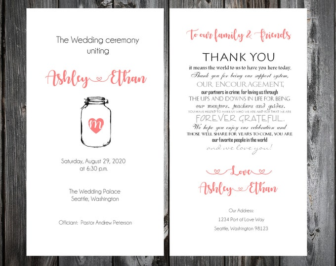 100 Wedding Programs - Mason Jar - Printed - Personalized - Rustic - Barn - Country