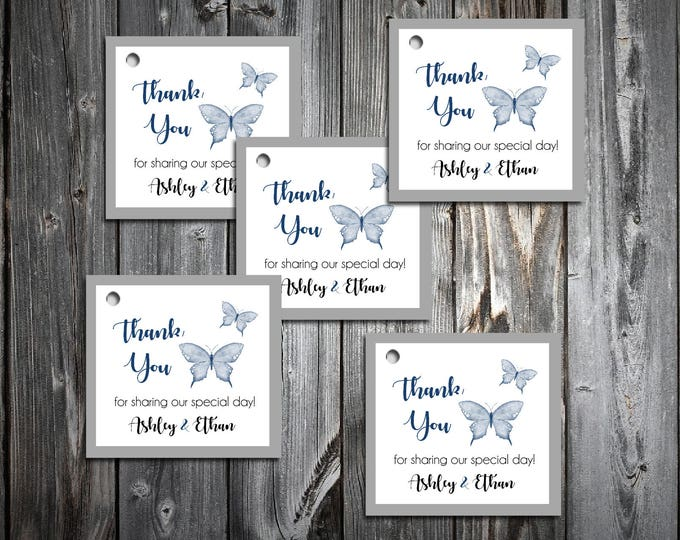 100 Butterfly Favor Tags.  Wedding favors