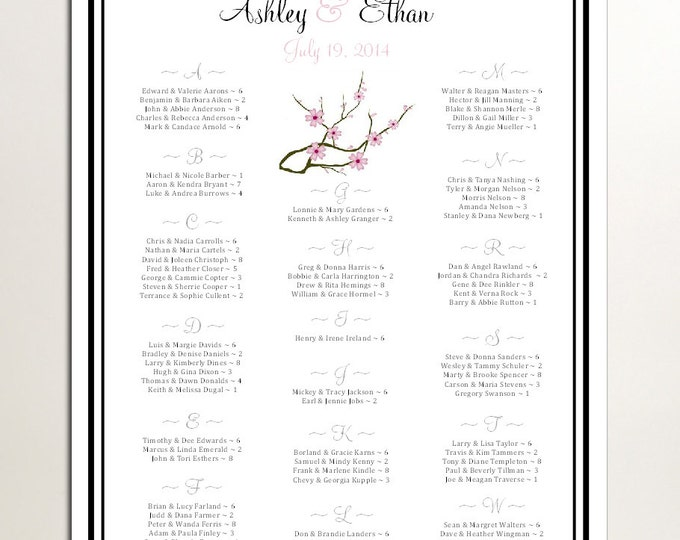 Cherry Blossoms Pink Seating Chart for Table Assignments for your Wedding Reception - Printable PDF File