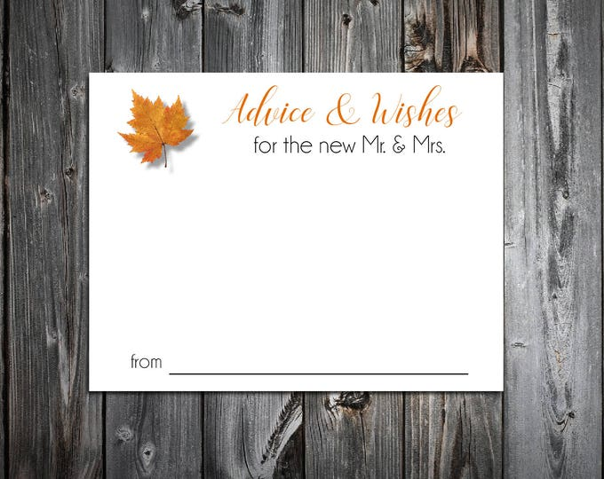 50 Fall Leaf Advice and Wishes.  Wedding Favors - Fall In Love