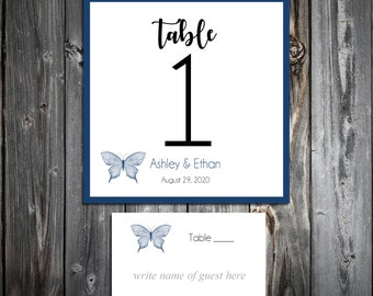 10 Wedding Table Numbers - 100 place settings - Butterfly - Printed - Personalized - Butterflies