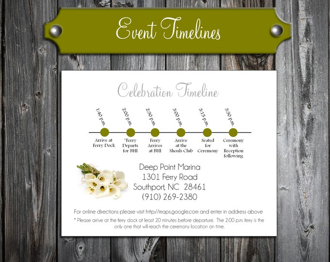 100 Wedding Timeline Itinerary - Calla Lily - Printed - Personalized Calla Lilies Theme - Order of Events