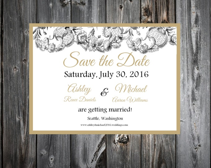 Lace and Burlap Rustic Theme Wedding Save the Date Cards Invitaitons