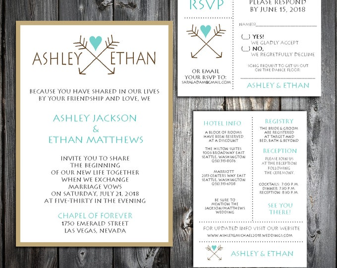 Arrow Wedding Invitations, RSVP's, Reception Insert w/ FREE Calendar Stickers - Printing included