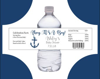 25 Nautical Ahoy It's a Boy Baby Shower water bottle labels - Price includes personalization and printing.