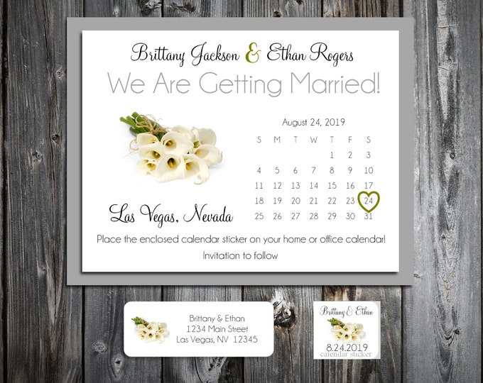 50 Wedding Save the Date Cards - Calla Lily - Printed - Personalized Calla Lilies Save the Dates Invitations