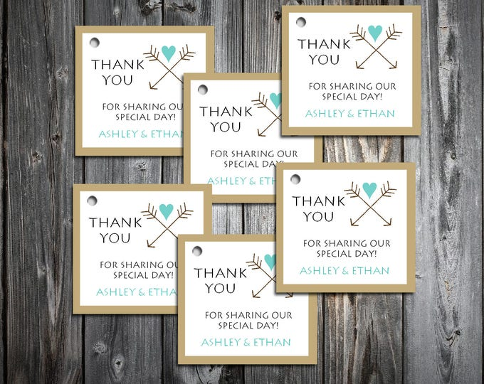 Arrow 100 Printed and Personalized Favor Tags.  Wedding favors