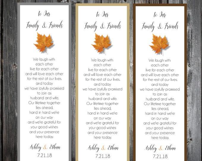 100 Fall Leaf Wedding Bookmarks Favor