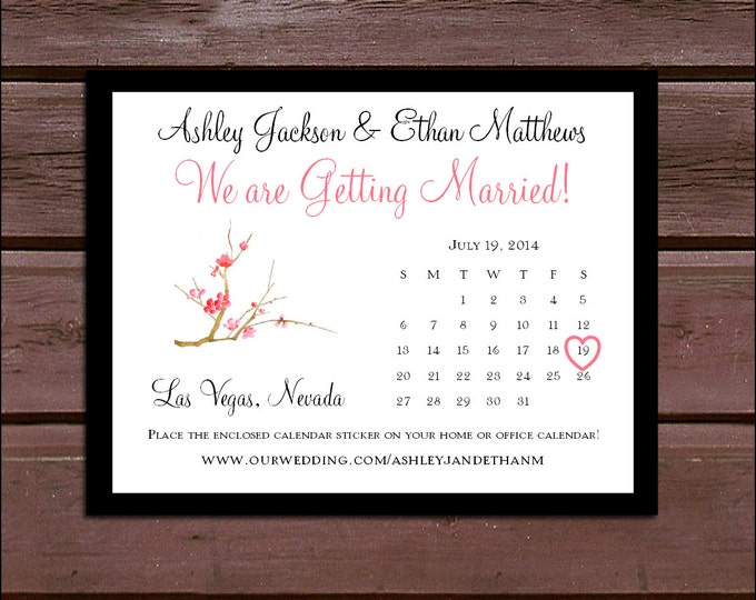 Cherry Blossoms Wedding Save the Date Cards Invitations